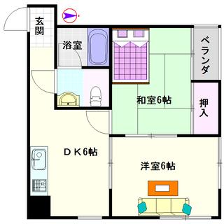 【八阪ハイツ】2号タイプ!2DKタイプ!古いですが室内は綺麗★