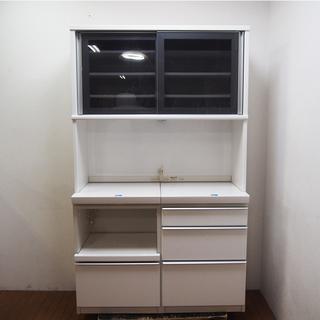 【良品】日本製 松田家具 食器棚 キッチンキャビネット ホワイト...