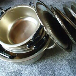 アルミ 両手鍋 4個 22.0×1、26.0×1、24.0×1、...