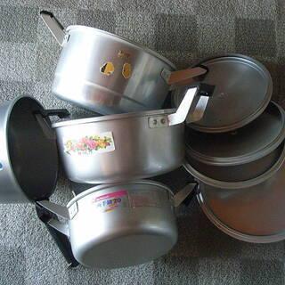 アルミ 両手鍋 3個 20.0×2,22.0×1,24.0×1 ...