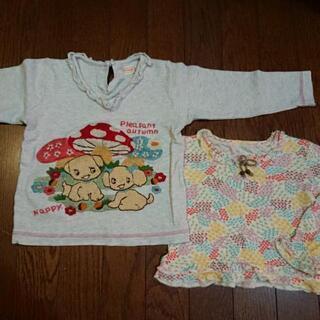 【オレンジボンボン、フーセンウサギ】女の子用長袖Tシャツ …