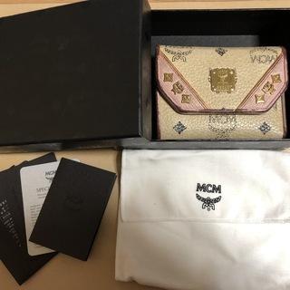 財布【MCM】正規品 3つ折り財布 ロゴ ベージュ×ピンク