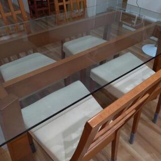 【モーダエンカーサ】 ガラステーブル本体×椅子4脚セット