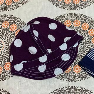 パープル水玉ツバ付き帽子