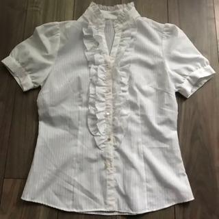 半袖シャツ  ブラウス  ホワイト  ストライプ    M  9号 ②