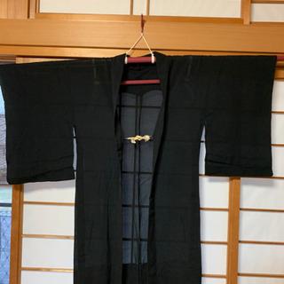 着物 羽織り 黒 【リメイク】【古布】夏物