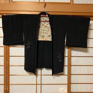 着物羽織り【リメイク】【古布】黒刺繍