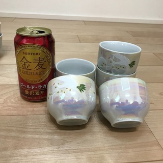 108、湯呑み茶碗(鶴松の絵柄)5個