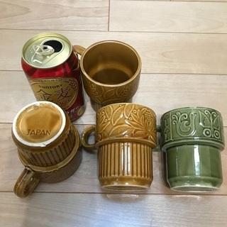 111、マグカップ(茶色3、緑1)4個