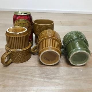 111、マグカップ(茶色3、緑1)4個 - 岡山市