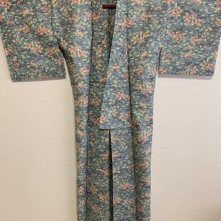 草花柄 グリーン系 夏物女性用着物【リメイク】