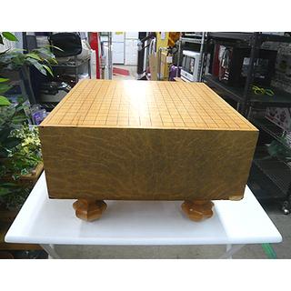 札幌【足付き碁盤 盤の厚さ5,6寸】本寸サイズ カバー付き へそ...