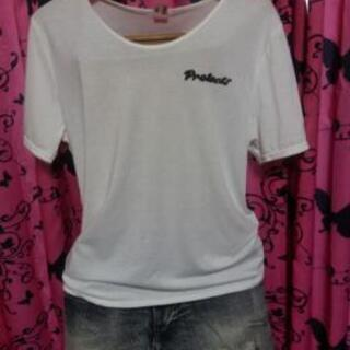 白プリントTシャツ☆大きいサイズ(中古)