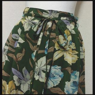 [未使用✧︎Pumpkin]花柄 スカーチョ ガウチョパンツ 緑...