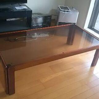昭和レトロ 東京家具 大きめ贅沢幅広センターテーブル ガラス天板