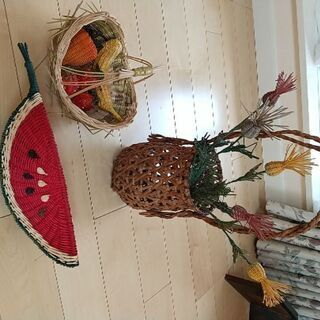 籐 花籠 フルーツバスケット 飾り 茶道