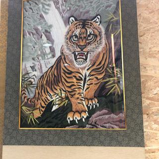 虎 刺繍 絵 掛け軸風 飾り インテリア