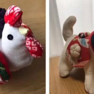 ちりめん細工のニワトリさんと狛犬さん (他商品とセットで0円)