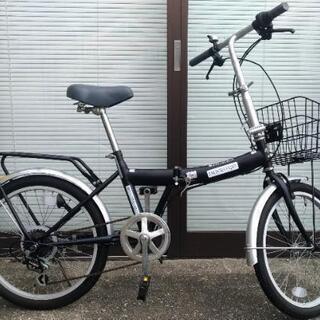 一週間使用、カゴ&荷台付、20インチ折り畳み自転車、6段変速