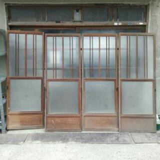 アンティーク 建具 ガラス引き戸 4枚組 古民家再生