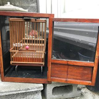 鳥籠ケース、木製?竹製?鳥籠付き