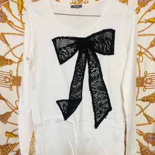 リボン柄Tシャツ(L)