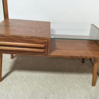 (取引中)テーブル 収納付きガラステーブル 引き出し ローテーブル 木製の画像