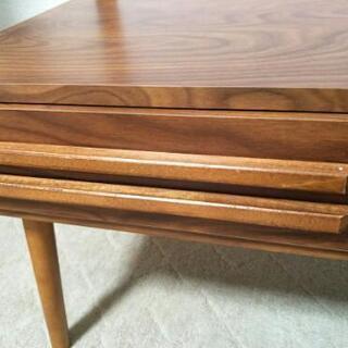(取引中)テーブル 収納付きガラステーブル 引き出し ローテーブル 木製 - 大阪市