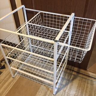 【あげます】IKEAヨナクセル ワイヤーバスケット4段(お届けも可) - 生活雑貨