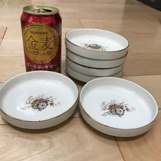 91、昭和レトロな小皿(花と車の絵)6枚