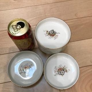 91、昭和レトロな小皿(花と車の絵)6枚 - 岡山市