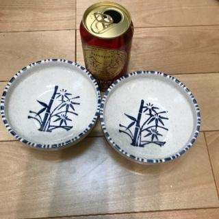 92、昭和レトロな小皿(竹の絵)2枚