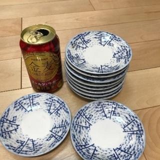 93、昭和レトロな小皿(竹笹の絵)10枚