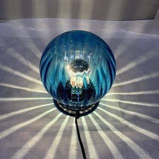 ガラス製 置き型 間接照明 丸型 村上工作所 ブルー 直径20㎝...