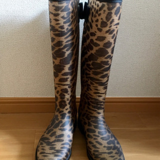 【長靴】ヒョウ柄レインブーツ(Mサイズ)