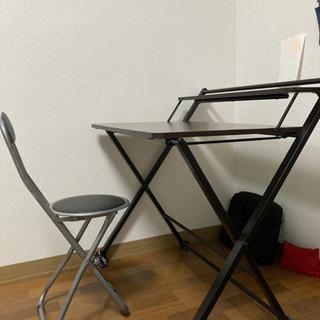 【シンプル】作業デスクとパイプ椅子セット