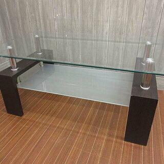ss1237 札幌市内・札幌近郊限定 ガラステーブル ダークブラ...