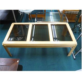 札幌【ブラックガラス センターテーブル】幅122cm グレーガラ...