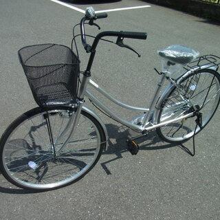 【新品】ギアなし自転車 シールバー カゴ付き