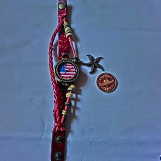 ★お洒落な星条旗腕時計 稼働中、レデース、★アクセサリー付き★P...