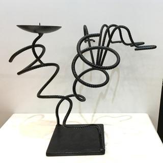 キャンドルスタンド アンティーク調 インテリア アート ろうそく立て アイアン製 飾り ブラック  - 福井市