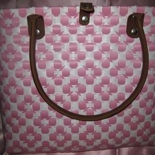 プラカゴ ピンク色×白 花模様 カゴバッグ エコバッグ アジアン雑貨