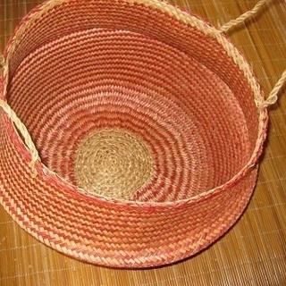 アジアン雑貨  ベトナム ちゃがま駕籠 赤 ×薄茶色