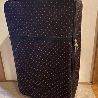 スーツケース 黒×ピンク ドット柄