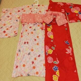 浴衣 2枚 帯1つ 小学生 中学生 女の子