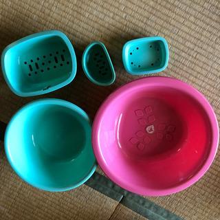 【未使用】洗面器セットピンク