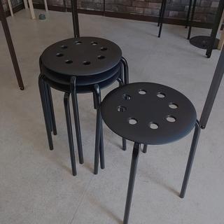 IKEA (黒)丸椅子 スタッキング イケア 2脚セット