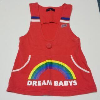子供服 女の子 90サイズ ワンピース? 赤 虹