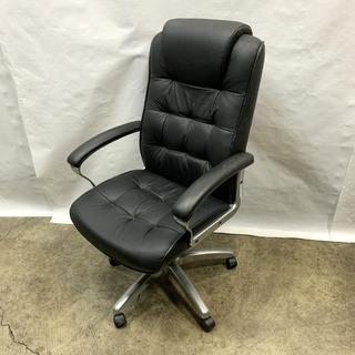 キャスター付き デスクチェア 合皮 ブラック 高さ調節付き 椅子...