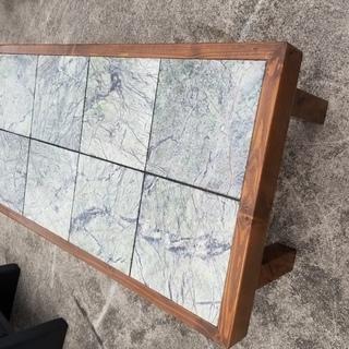 ■【引取限定】テーブル 石の天板 約68×128×47cm (N...
